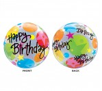 "22"" Happy Bday Big Dots Bubble Balloon"