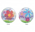 "22"" Happy Bday Flower Bubble Balloon"
