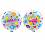 "22"" Happy Bday Cupcakes Bubble Balloon"