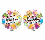 "22"" Happy Bday W Streamers Bubble Balloon"
