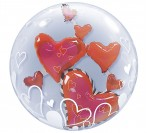"24"" Red Hearts Bubble Balloon"