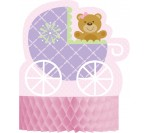 Baby Shower Teddy Bear Pink Centerpiece, Shaped HoneyComb (22.86cm X 29.8cm)