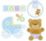 Baby Shower Blue CutOut Asst (5 Assorted Cutouts)