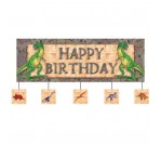 Dino Theme Giant Party Banner w 5 Attached Cutouts (152.4cm X 50.8cm)