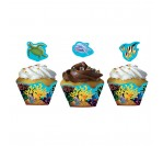 Ocean Party Cup Cake Wrappers W Topper (12pcs/pkt)