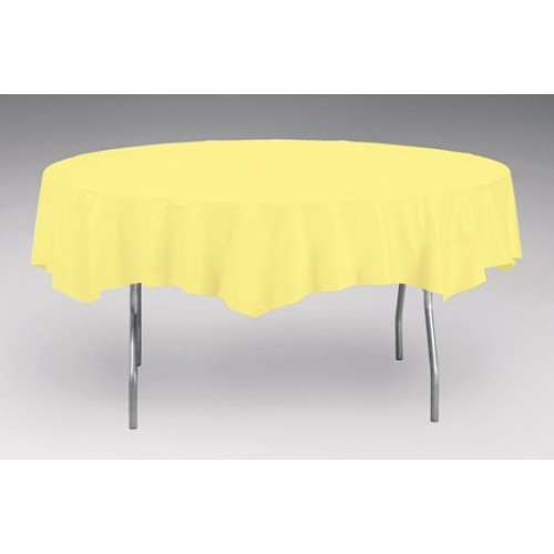 Yellow Mimosa Premium OctyRound Plastic Table Cover (208 Cm Diameter)