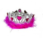 Tiara W Pink Feather-Heart