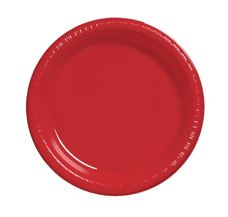 "Classic Red 9"" Plastic Lunch Plates 20 pcs/pkt"