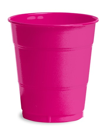 Hot Magenta 12 Oz Solid Plastic Cups 20 pcs/pkt