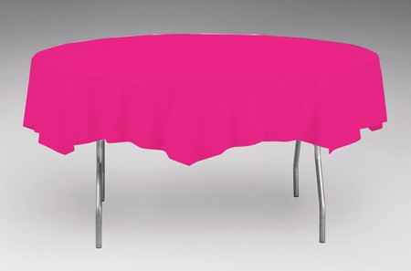 Hot Magenta Premium OctyRound Plastic Table Cover (208 cm Diameter)